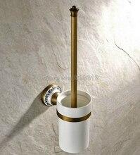 Античная Латунь Настенный держатель Туалетной Щетки Держатель Щетка + Керамическая Чашка Wba406