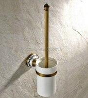 Antique Brass Wall Mounted Toilet Brush Set Holder Brush + Ceramic Cup Wba406