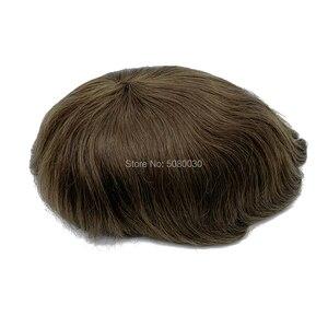 Image 5 - Protez saç erkek saç örgü İnsan saç erkek peruk İsviçre dantel etrafında pu tabanı ücretsiz kargo Fedex DHL