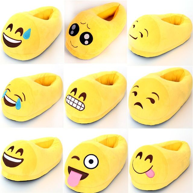 Easter Gift 12 Styles Indoor Cartoon Emoji Smiley Emoticon Plush Adult Slippers Winter Emoji Thick Plush Slippers Warm Gifts