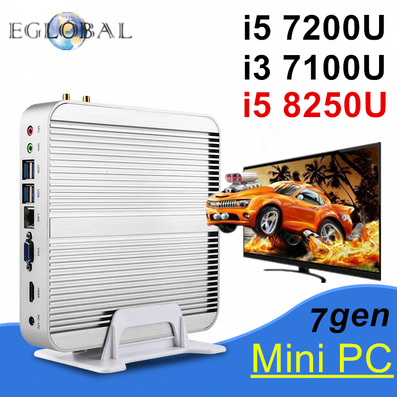 Eglobal Mini Computer Oem Win10 Pro Intel Core I7 I5 8250u 7200u I3 7100u Fanless Mini Pc Barebone Htpc Minipc Nuc Graphics 620