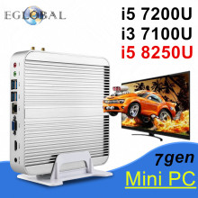 Eglobal Mini Computer 2*DDR4/DDR3 Intel i7 i5 8250U 7200U i3 7100U Fanless Mini PC OEM Win10 Pro Barebone HTPC Nuc Graphics 620(China)