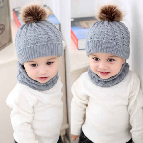 ใหม่ล่าสุด 2020 2 pcs ทารกแรกเกิดเด็กทารกฤดูหนาว Warm Fur Pom Bobble ถักหมวกหมวกหมวก + ผ้าพันคอ 1-3 T