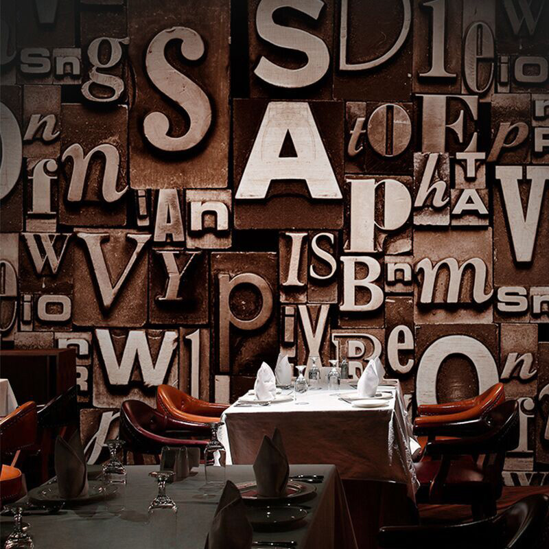 Retro 3d English Alphabets Wallpaper Roll Pvc Embossed Bar