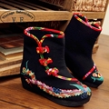 Vintage Embroidery Boots Winter Chinese Style Phoenix Embroidered Cloth Shoes Boots Size 35-41 Black Red