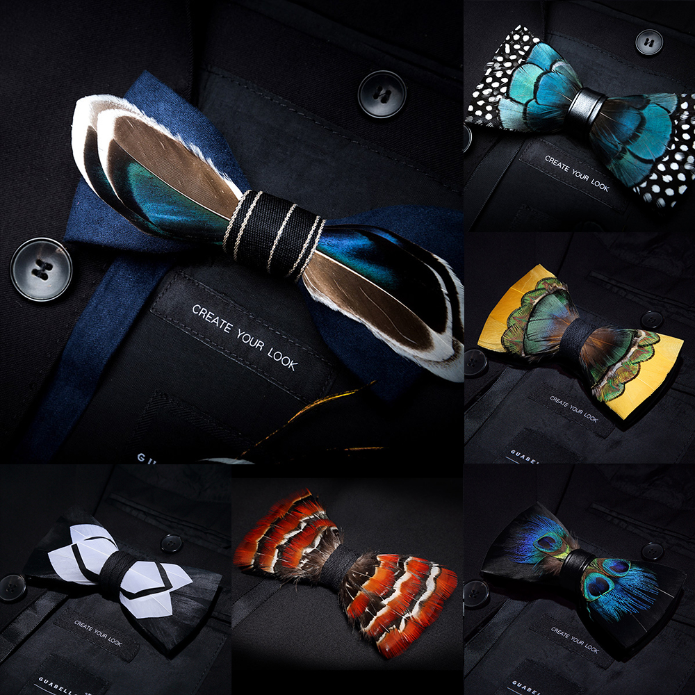 KAMBERFT Designer Brand Handmade Feather And Leather Pre-tied Bow Tie And Brooch Sets For Men Wedding Party Best Gift Cravate