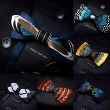 KAMBERFT designer merk Handgemaakte Veer en Leer Pre gebonden Bow tie en Broche Sets voor Mannen wedding party beste gift Cravate