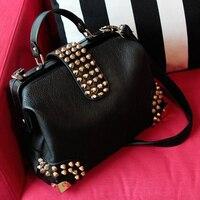 Новый Ретро Винтаж Для женщин искусственная кожа Сумочка Мода Сумки на плечо черная сумка через плечо Бесплатная доставка