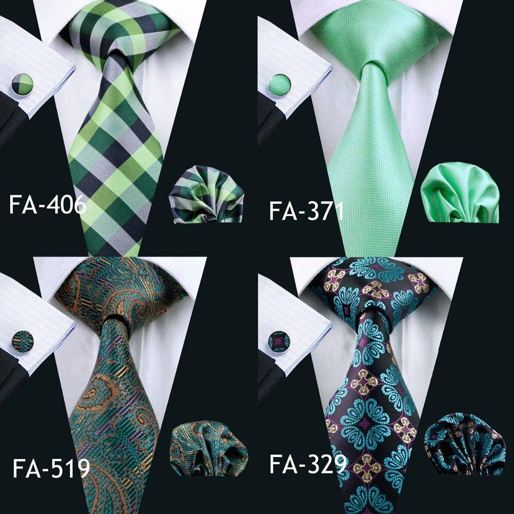 Men's Ties & Handkerchiefs Fa-858 2018 Barry.wang New Mens Tie Green Solied Silk Jacquard Woven Gravata Necktie Hanky Cufflinks Set For Business Wedding
