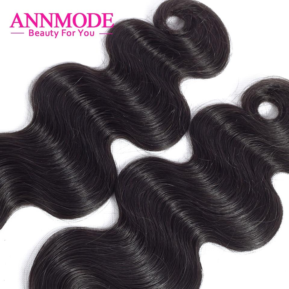 ANNMODE Hair Brazilian Body Wave Hair 3 Pcs Human Hair Bundles Non-Remy Hair Extention Natural Color 10-28 inch