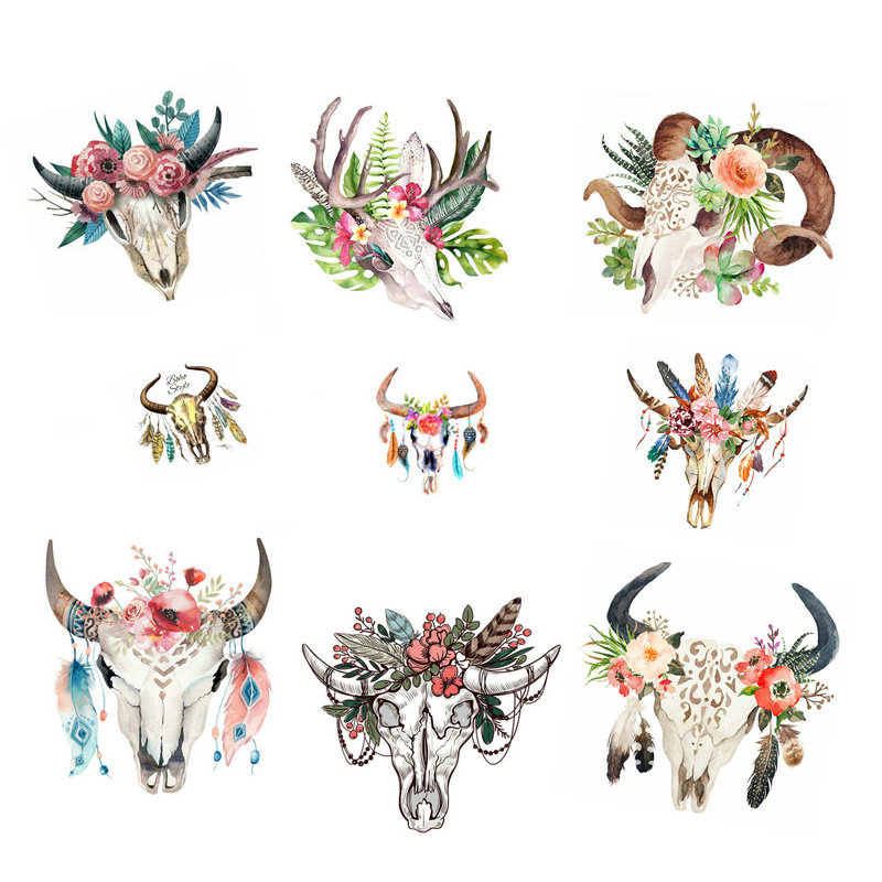New West Coast animals Goat Sheep skull Flowers Feather Heat Transfers Iron On Patches T-shirt Clothes DIY Craft Sticker 47166