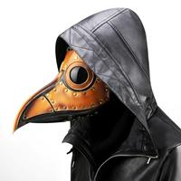Handmade simulation face mask head ornament plague bird beak PU metal rivet headgear halloween prop party gift animal punk masks