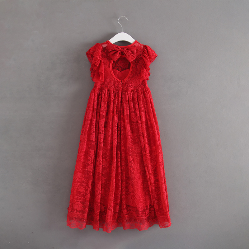 Kids Girls Maxi Bow Lace Red Green Color Dress Baby New