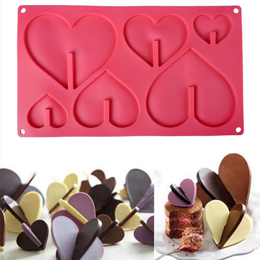 Mold Bakeware Cups Heart-Shape Silicone Chocolate New 1PCS 6-Cupcakes Non-Stick-Tray