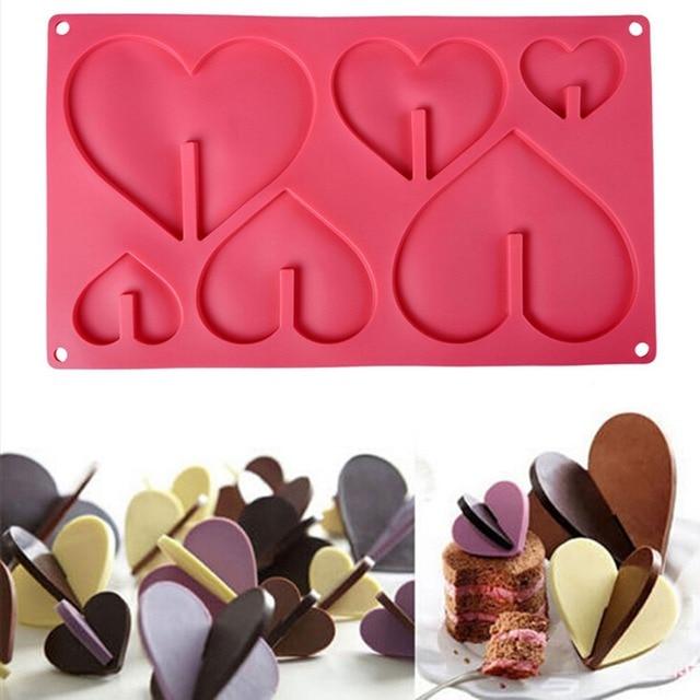 1 шт. Новый 3D сердце Форма шоколад 6 кексов силиконовые формы Чашки Mold антипригарным лоток Формы для выпечки Инструменты
