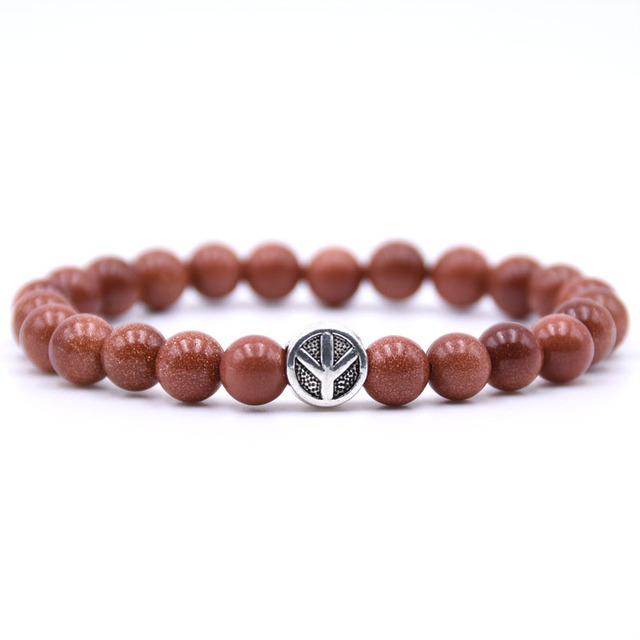 KANGKANG Peace sign Bracelet Classic Natural Stone 18 styles Bead Bracelets for Men Women Best Friend charm gift 2018