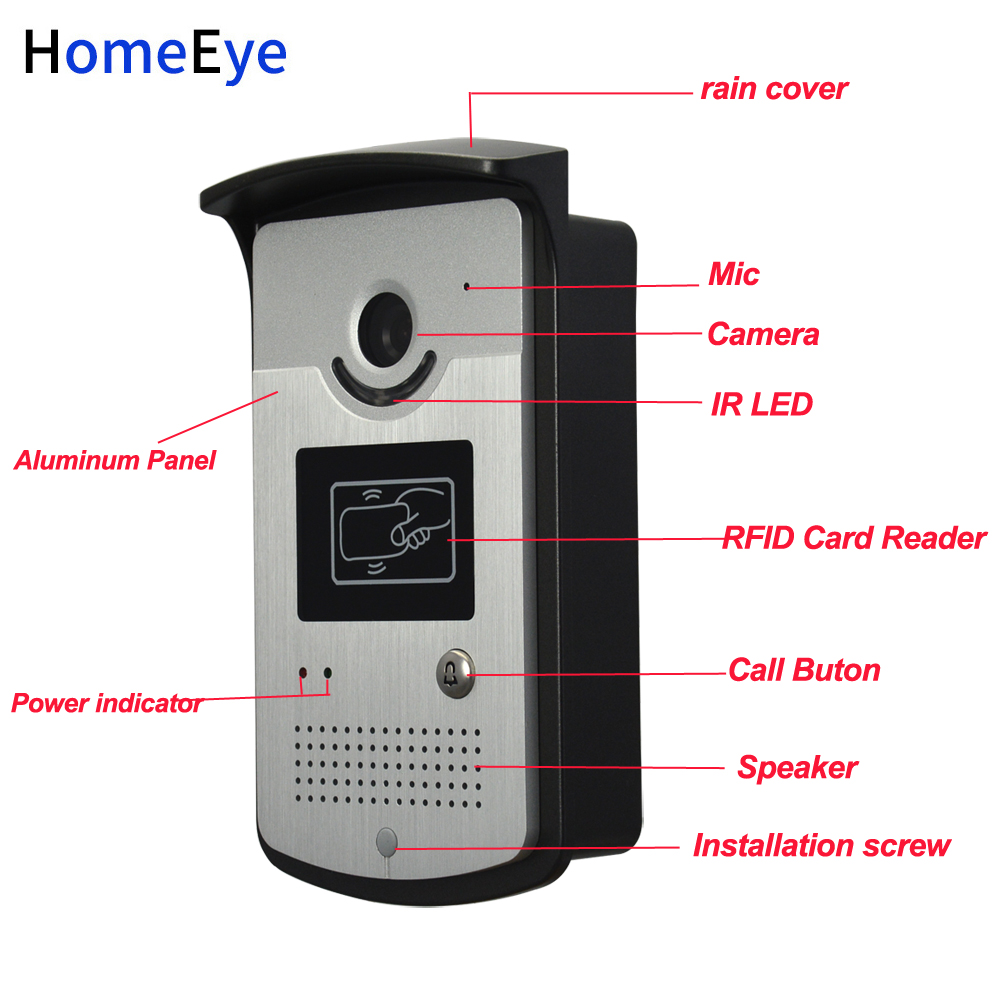 10'' Screen Video Door Phone Video Intercom 2V1 Home Access Control System+RFID Card Reader 1200TVL Waterproof Touch Button OSD - 6
