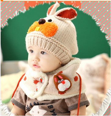 2015 Baby Girl winter hat and scarf set crochet clothes boy child hot  rabbit hats beanies cappellini neonate newborn to drink-in Hats   Caps from  Mother ... 77582f25bd76