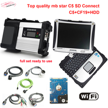 WiFi obd2 diagnostic-tool MB Star C5 with CF19 Military Laptop+HDD 2017.12 Software for sd connect c5 scanner fully set DHL free