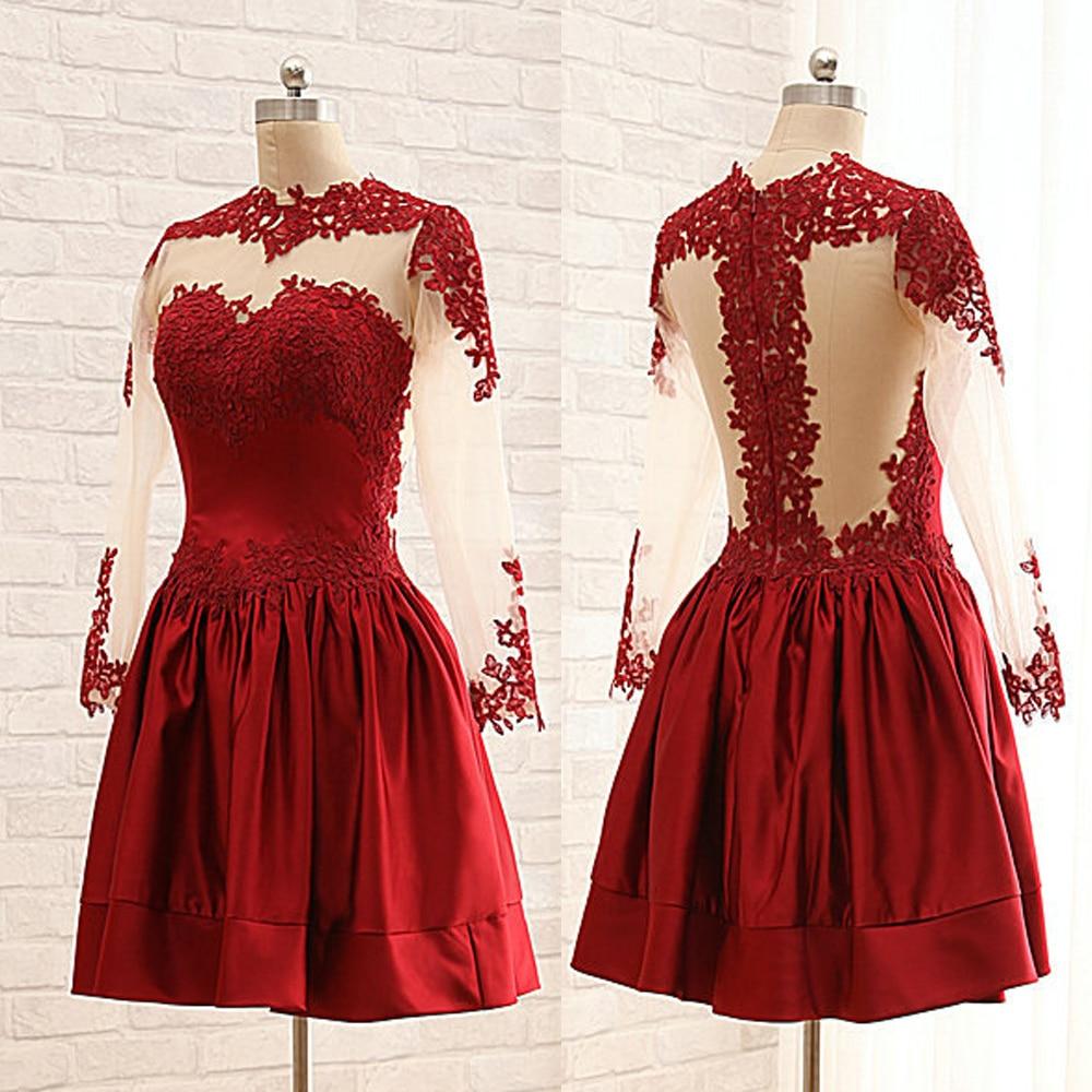 Vestido De Festa 2015 Red Semi Formal Dresses Sexy Long Sleeve Lace