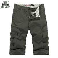 Big Size 2017 Summer Cotton Male Cargo Shorts Men Knee Length Multi Pocket Elastic Waisted Drawstring