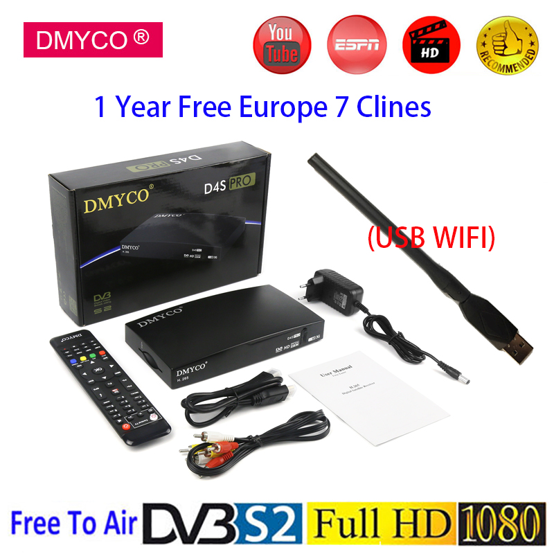 DVB-S2 lnb Satellite Receiver D4S Pro +1 Year Europe C-line Server HD Full 1080P Spain H.265 Youtube Mini Receptor With USB Wifi