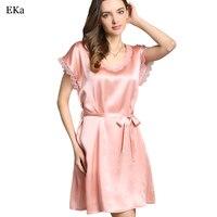 2017 Sexy Nightwear Embroidery Nightgown Mini 100 Silk Sleep Shirts Female See Through Women Sleepwear Night