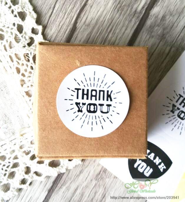 Купить с кэшбэком 90pcs/lot Vintage White Kraft Paper Thank You Stationery label sticker Students' DIY Retro Seal sticker For handmade products