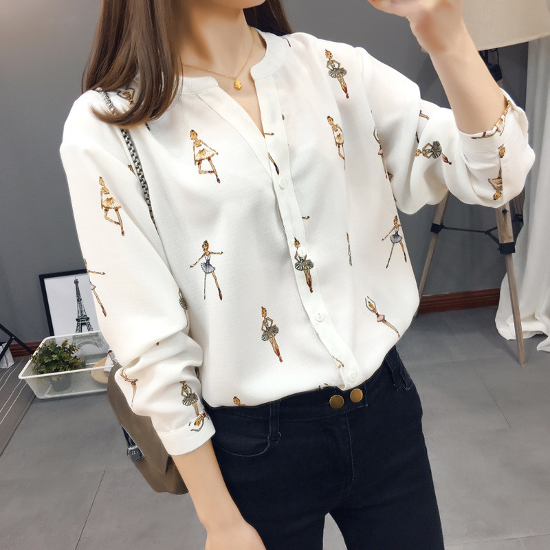 2019 Spring New Women Shirts Ballerina Girl Print V-Neck Famale Blouse Fashion Long Sleeve Buttons Women Tops Streetwear