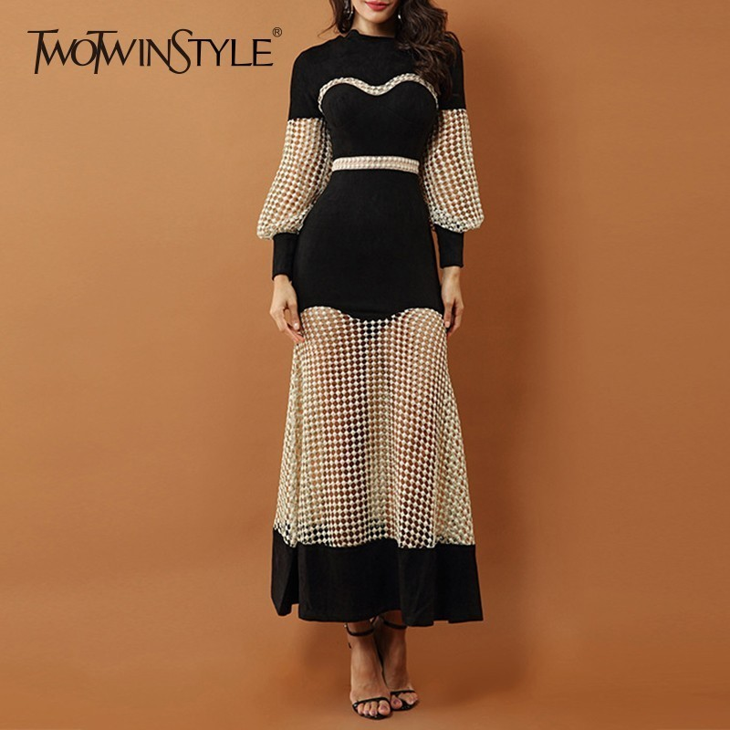 TWOTWINSTYLE Perspective Dress For Women High Waist Lantern Long Sleeve Hollow Out Patchwork Dresses Female 2019 Autumn Fashion