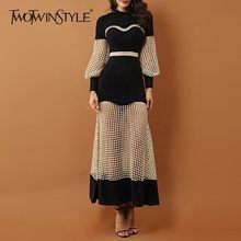 TWOTWINSTYLE Perspective Dress For Women High Waist Lantern Long Sleeve Hollow Out Patchwork Dresses Female 2019 Autumn Fashion(China)