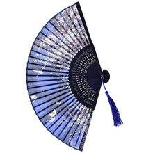 Hot Selling Silk Chinese Fan Folding Hand Held Bamboo Prints Vintage Retro Style Handmade Blue C411