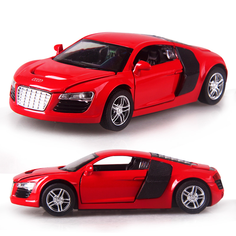 4 color 1:32 Scale 14CM Alloy Cars R8 Super car Pull Back Diecast Model Toy with sound light Collection Gift toy For Boys Kids military modern wars diecast boeing ah 64 apache helicopter gunships can shoot alloy pull back toy with light