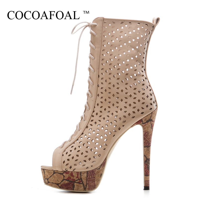 COCOAFOAL Women Peep Toe Ankle Boots Plus Size 33 43 Open Toe Heels Sandals Summer Hollow Out Lace Up Gladiator Sandals White silver and gold short boots women sandals hollow out back zipper open toe high heel stilettos plus size fold ankle boots