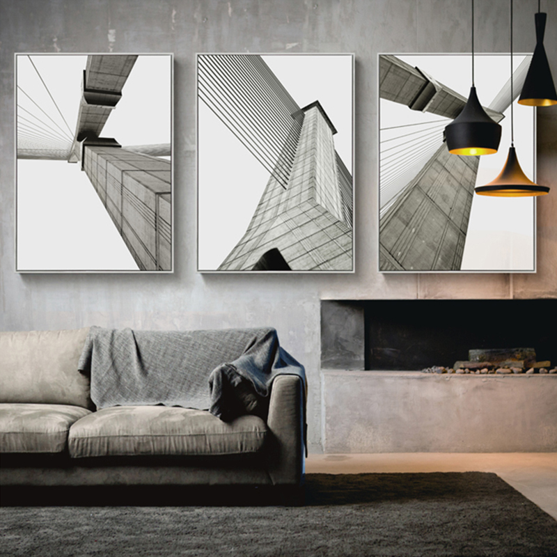 Industrial style Building Wall Art Canvas Painting Modern Bridge ...