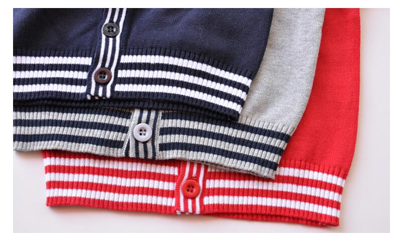 LittleSpring Toddler Boys V-Neck Cardigan Button Thin Red 3T