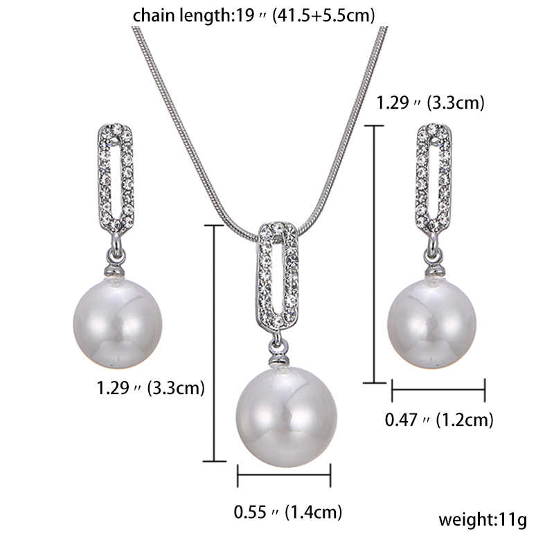 jiayijiaduo Charm Wedding Women Jewelry Pearl Silver Necklace Earrings Set Rhinestone Pendant For Gift Party Costume Accessories