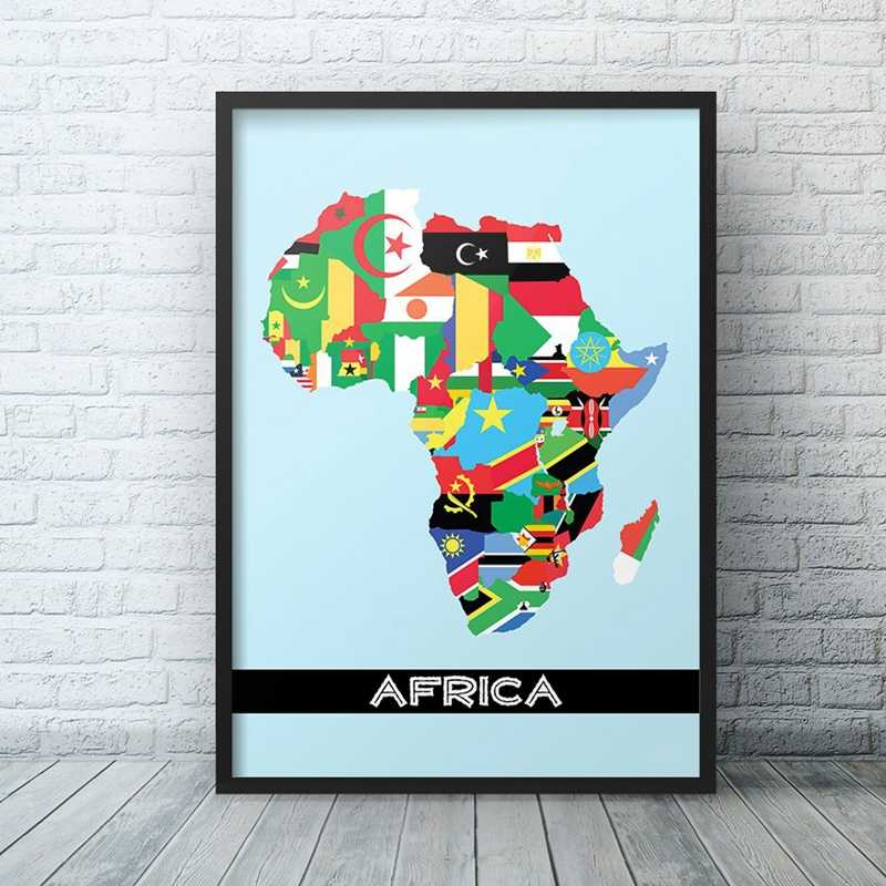 Africa Flag Map Minimalist Contemporary Art Canvas Poster Painting Map of Africa Wall Picture Print Home Living Room Decoration