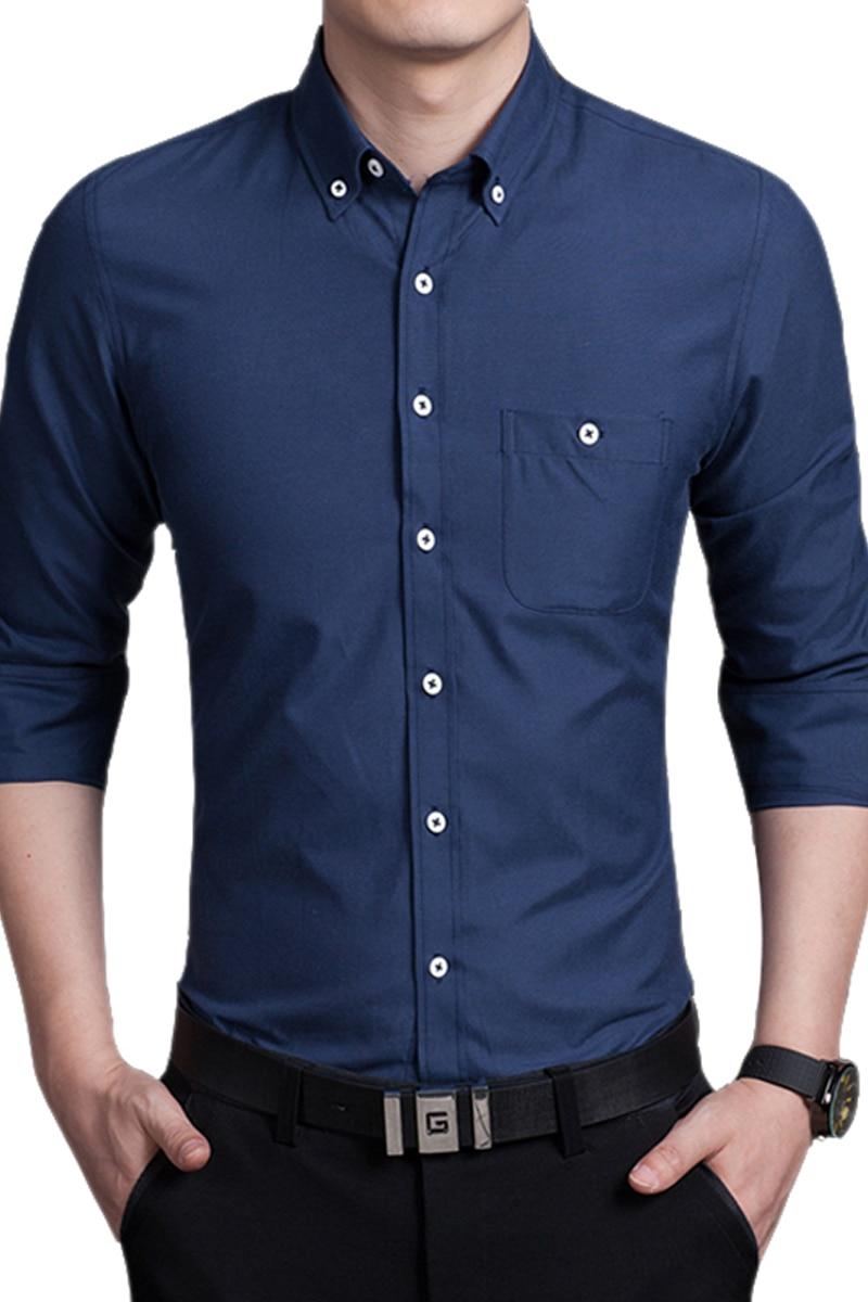 Men 39 s white shirt sleeved shirt slim korean occupation dp for Finest mens dress shirts