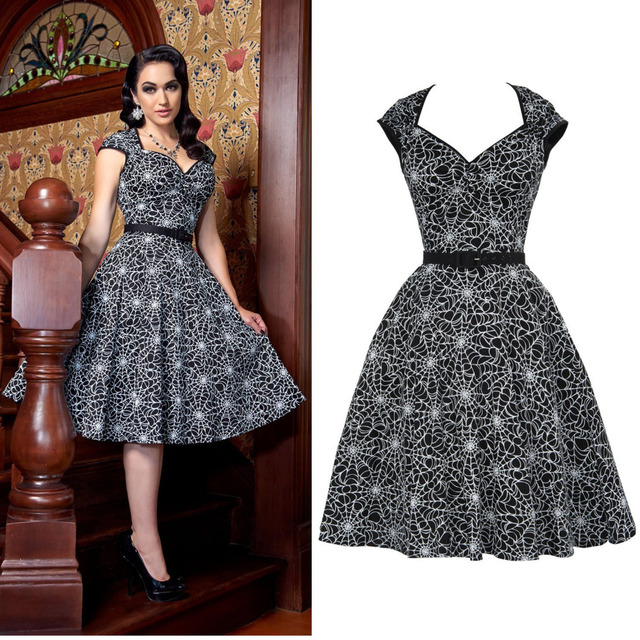 30- summer women vintage 50s spiderweb print angular neckline swing dress  rockabilly pinup vestidos plus size jurken dress robe b5215a61f8d1