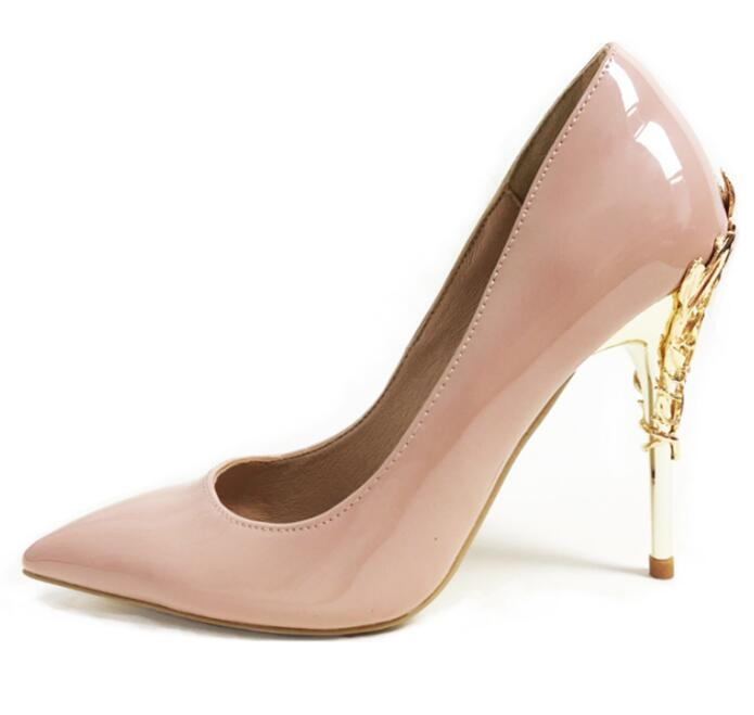 New fashion patent leather high heel shoes woman sexy pointed toe stiletto heels gold metallic decoration dress heels top quality woman shoes fashioned in the concise design and unique pattern fringe decoration stiletto high heels light blue heel