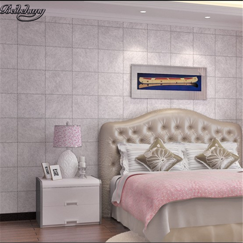beibehang Simple leather deep embossed resistant waterproof wallpaper plaid personality living room bedroom TV wall decoration
