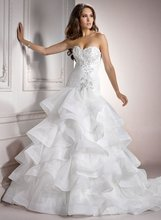 A-94 Elegant Multi-layered Strapless A-line Organza Wedding Dress Designer
