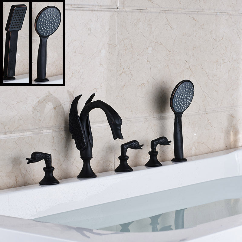 Swan Style 5pc Widespread Tub Mixer Faucet Deck Mounted Oil Rubbed Bronze Black with Handshower Tub Hot and Cold Taps