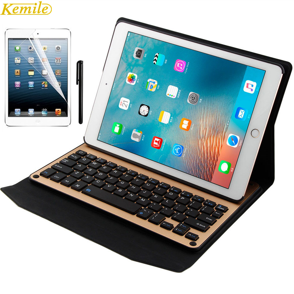 For iPad air Bluetooth Keyboard Leather Case Metal Smart Keyboard Cover Wireless keyboard for ipad air2 /ipad pro9.7+Clear Scree new detachable official removable original metal keyboard station stand case cover for samsung ativ smart pc 700t 700t1c xe700t