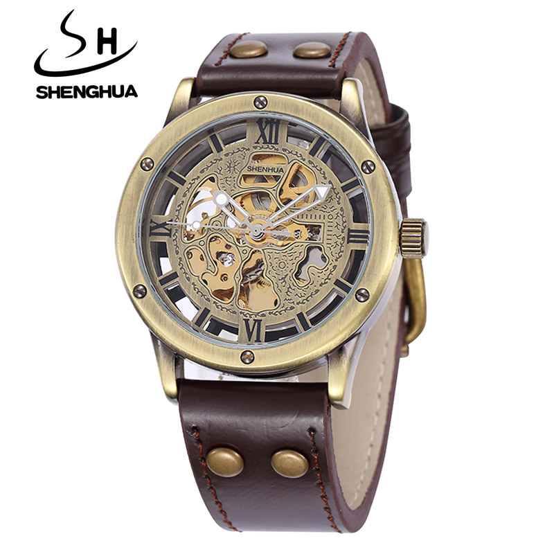 Relogio Masculino SHENHUA Retro Bronze Skeleton Mechanical Watch Men Automatic Watches Sport Luxury Top Brand Leather Watch