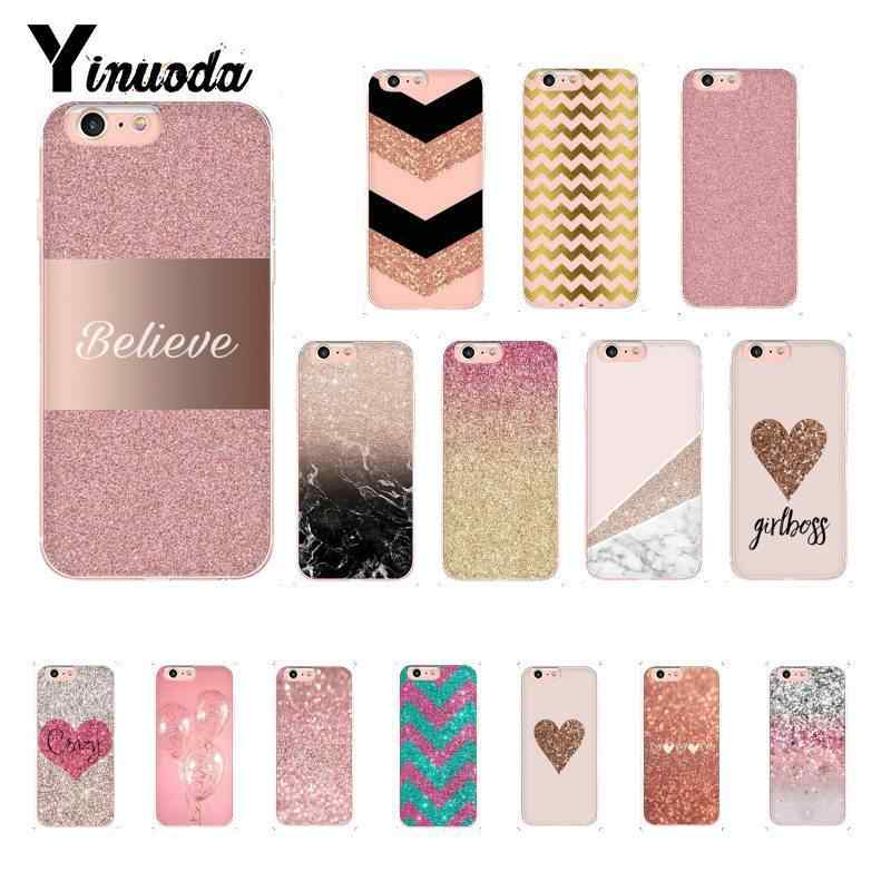 Yinuoda Golden Pink Glitter Soft Silicone TPU Phone Cover for iPhone 8 7 6 6S Plus X XS MAX 5 5S SE XR 10 Fundas Capa
