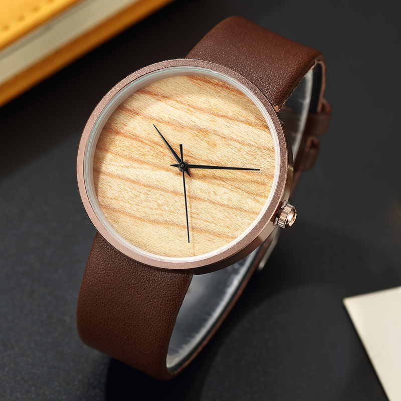 лучшая цена Simple Wooden Couple Wrist Watch Leather Strap Sports Top Brand Brown Lover's Ladies Men Women Mens Wood Grain Watches for Gifts