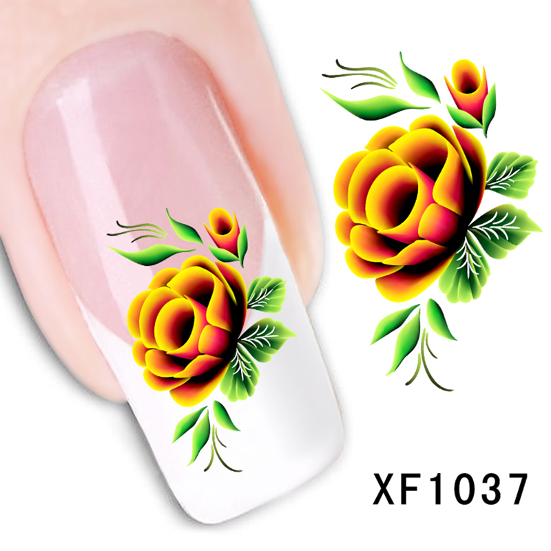 ELECOOL 1 Pc Bloomy Floral Flower Pattern Nail Art sticker Decals Nails Manicure tool Decoration DIY Styling Wraps Tools