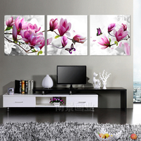 Drill Shiny 5D DIY Diamond Painting 3Pcs Combined Magnolia Flower Diamond Embroidery Full Square Mosaic Floral